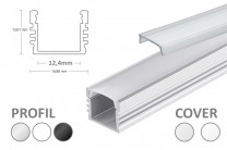 LED Aufbauprofil PL2, 12mm, 2m, silber