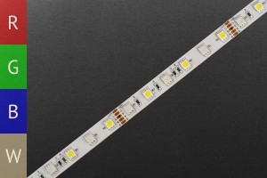 LED-Streifen RGBWW, weiße Einzel-LEDs, 60 LEDs/m, 12V