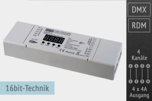 4-Kanal DMX/RDM LED-Controller, 4x4A, 30kHz, 16 Bit