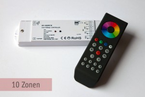 Set: 10-Zonen RGBW-LED-Controller + Fernbedienung