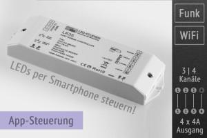 8-Zonen WiFi-LED-Controller 12-36V, App-Steuerung, 4x4A