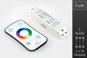 RGB-LED-Controller 3x3A, mit RF-Touch-Fernbedienung