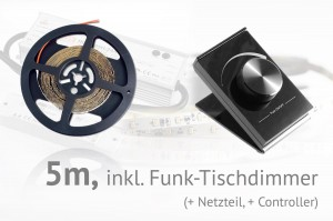 LED-Set: 5 Meter, mit Funk-Tischdimmer