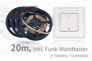LED-Set: 20 Meter, mit Funk-Wandtaster