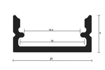 16mm Aufsatzprofil S16, 2m, silber