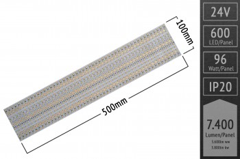 BiColor LED-Panel mit 600 LEDs, 50x10cm, CRI 95