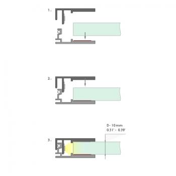 2m LED-Glas-Profil Glaskante (für 8-10mm Dicke)