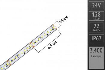 LED-Streifen 2835 - WW 3000K - 3.400lm/m - 24V - IP67