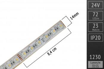 RGBWW 4in1 im Silikonschlauch: 72 LEDs/m - IP67 - 14mm breit