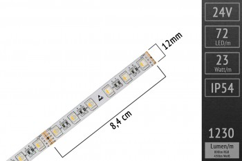 RGBWW 4in1 mit Silikonüberzug: 60 LEDs/m - IP54 - 12mm breit