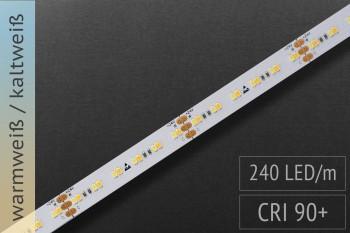 Einstellbare Farbtemperatur (CCT): 24 Volt - CRI>90 - 240 LEDs/m - 800 + 880lm/m