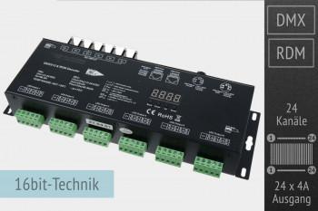 24-Kanal DMX/RDM LED-Controller, 24x4A, 35kHz, 16 Bit