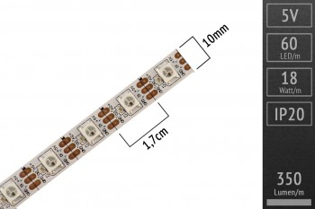 LED-Flexband digital SK6812 (wie WS2812) - 4m - 60 Pixel/m
