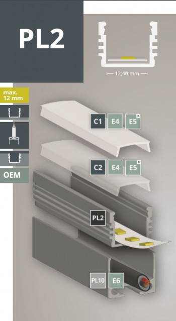 2m LED-Aufsatz-Profil PL2