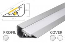 22mm LED-Aufsatz-Profil 30° Voute