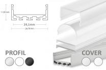 2m LED-Aufsatz-Profil PN4-b breit (für 2 parallele LED-Streifen)