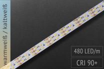 Einstellbare Farbtemperatur (CCT): 24V - Superhell! - 480 LEDs/m - 1.600 + 1.760lm/m