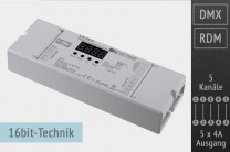 5-Kanal DMX/RDM LED-Controller, 5x4A, 30kHz, 16 Bit