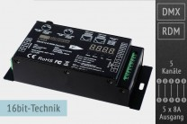 5-Kanal DMX/RDM LED-Controller, 5x8A, 30kHz, 16 Bit - XLR-5