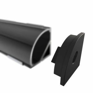 Endkappe für W12 Eckprofil, schwarz, mit Kabeldurchlass