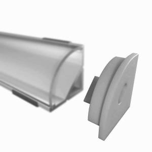 Endkappe für W12 Eckprofil, grau, mit Kabeldurchlass
