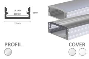 2m LED-Aufsatz-Profil S16 (für LED-Streifen bis 16mm Breite)