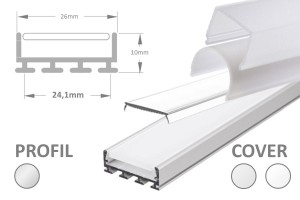 24mm LED-Aufsatz-Profil DUO