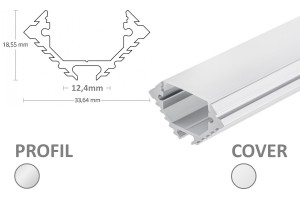 12mm LED-Eckprofil 45° PL11