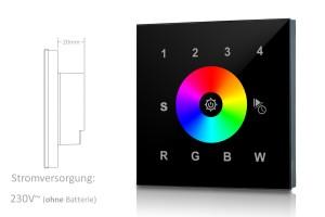 RGBW Touch-Wandsteuerung - 4 Zone - schwarz