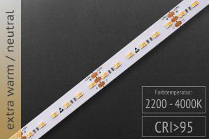 Einstellbare Farbtemperatur (CCT): 24 Volt - CRI>95 - 240 LEDs/m - 600 + 800lm/m - extra warm