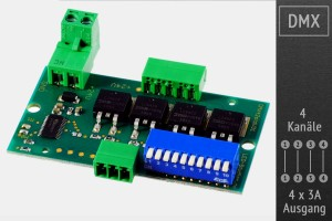 4-Kanal DMX-LED-Controller - 7-40V - 4x3A - MY9942 MOSFET