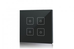 wall-mounted dimmer remote control, 4 zone, touchpanel black