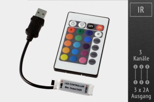 RGB-LED Micro Controller (IR) 5V, 3x2A, inkl. Fernbedienung