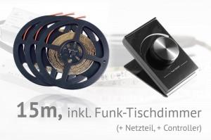 LED-Set: 15 Meter, mit Funk-Tischdimmer