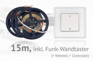 LED-Set: 15 Meter, mit Funk-Wandtaster
