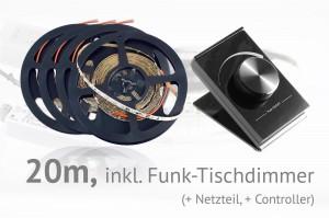 LED-Set: 20 Meter, mit Funk-Tischdimmer
