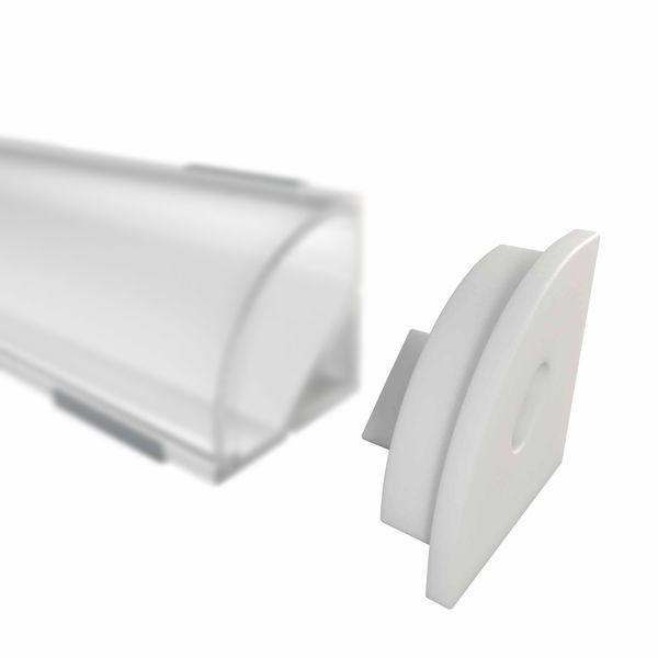 Endkappe für W12 Eckprofil, weiss, mit Kabeldurchlass
