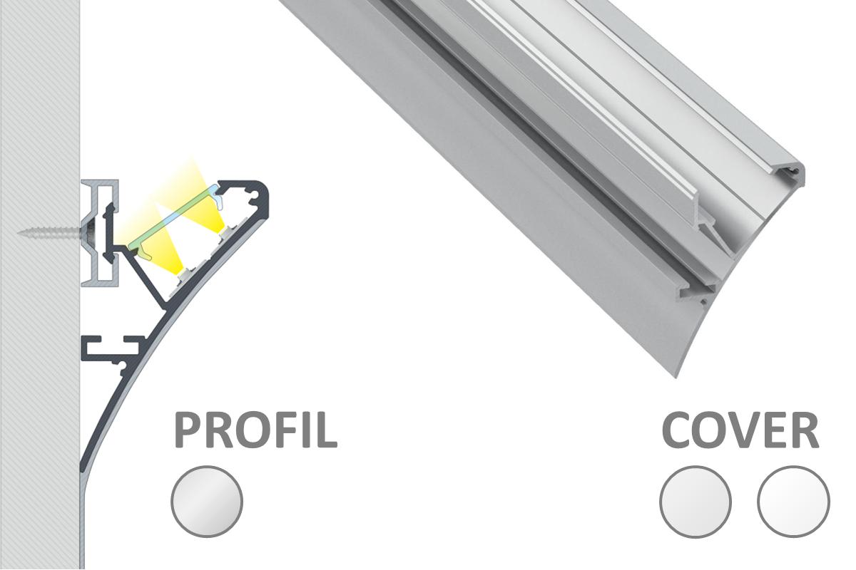 2m LOGI Profil für indirekte Beleuchtung