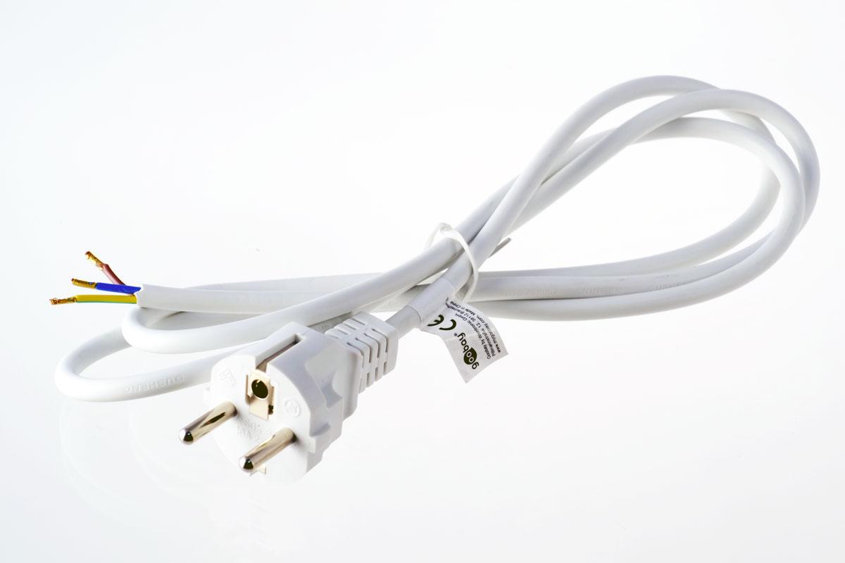 Schuko-Anschlusskabel, 3-adrig, 150cm, weiß