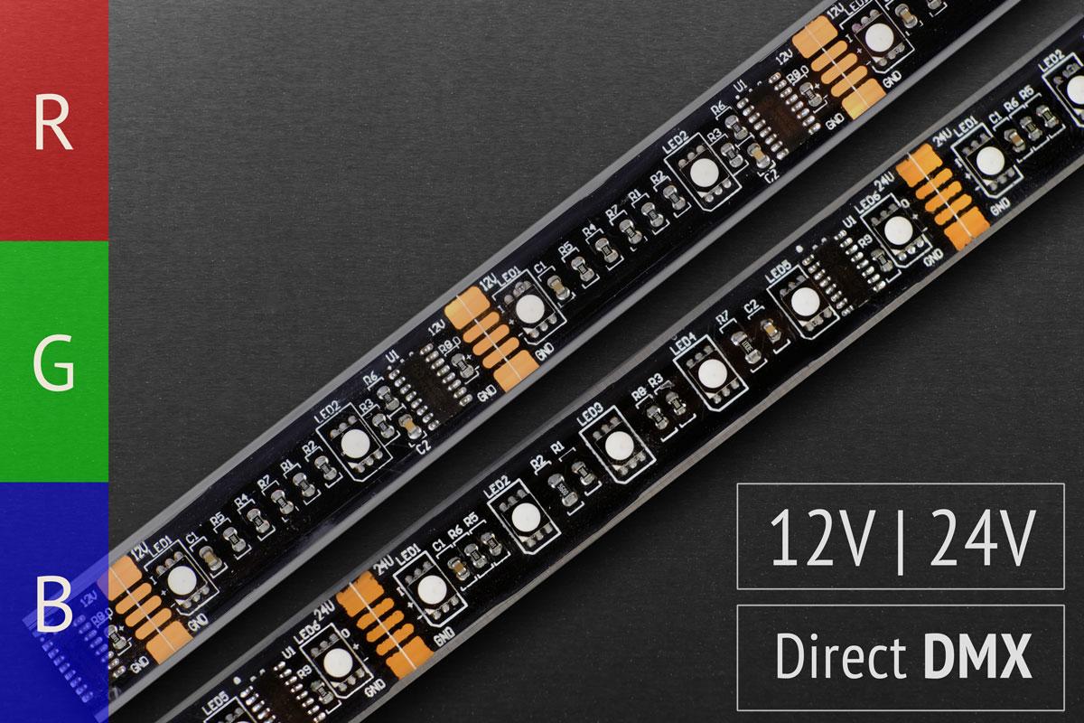 Direkt über DMX steuerbare Pixel-LED-Streifen | 12 & 24V | IP67