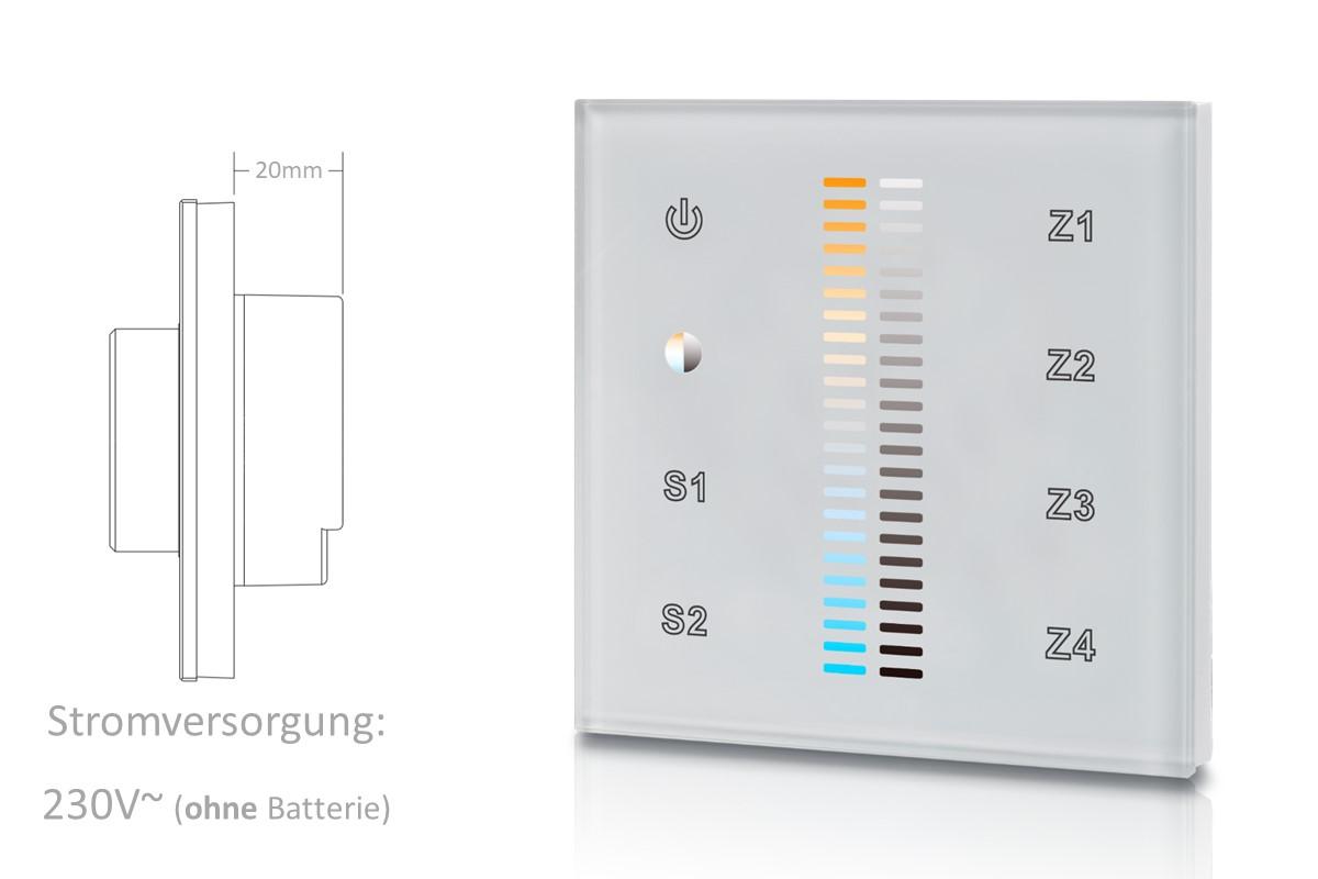 Touchsteuerung für Helligkeit & Farbtemperatur