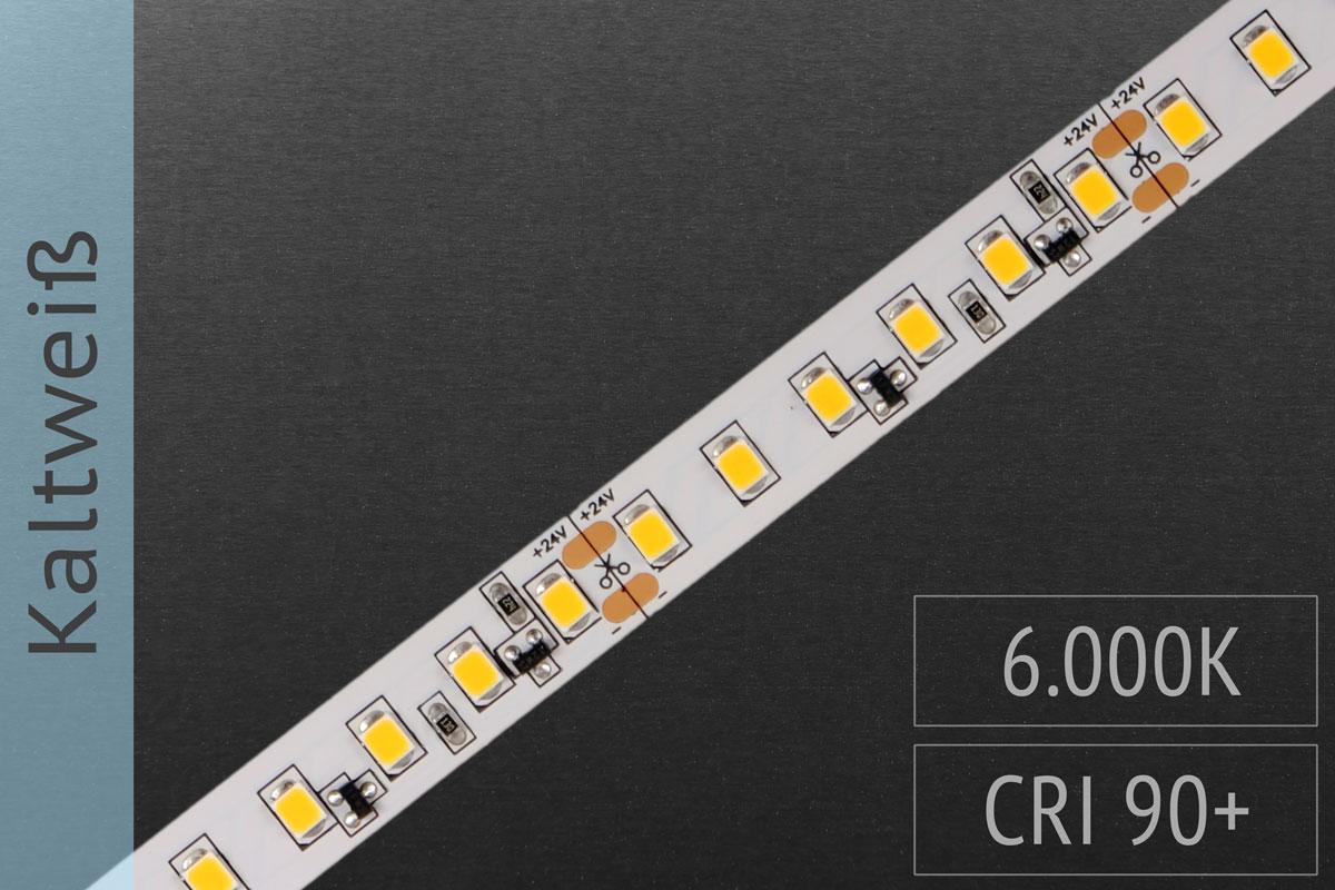 LED-Streifen 2835 KW 6000-6500K, 120LEDs/m, CRI>90, 24V