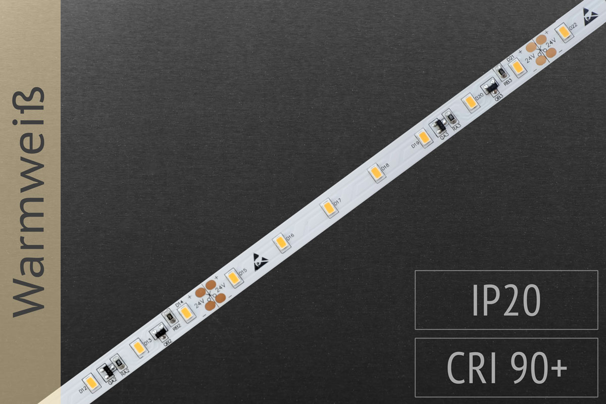 LED-Streifen 3020 WW 2500-2700K, 70LEDs/m, CRI>90, 24V