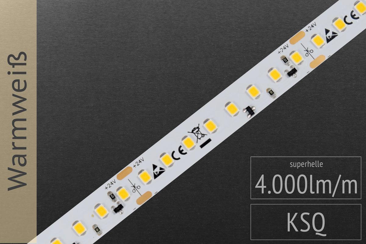 LED-Streifen 2835 WW 2900-3100K, 4.000lm/m, 24V
