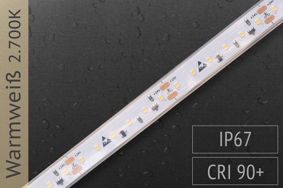 LED-Streifen mit 120 LED/m - 780 lm/m - warmweiß 2.700K - IP67
