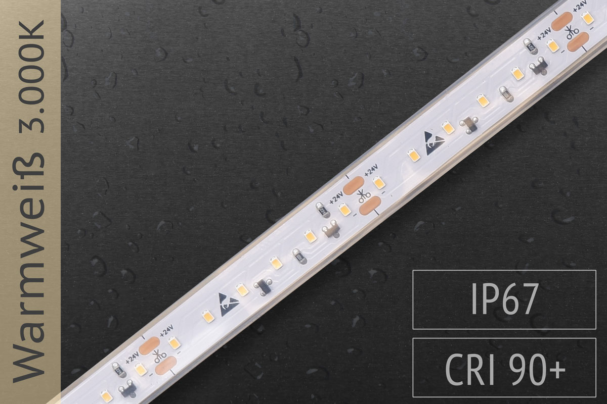 LED-Streifen mit 120 LED/m - 800 lm/m - warmweiß 3.000K - IP67