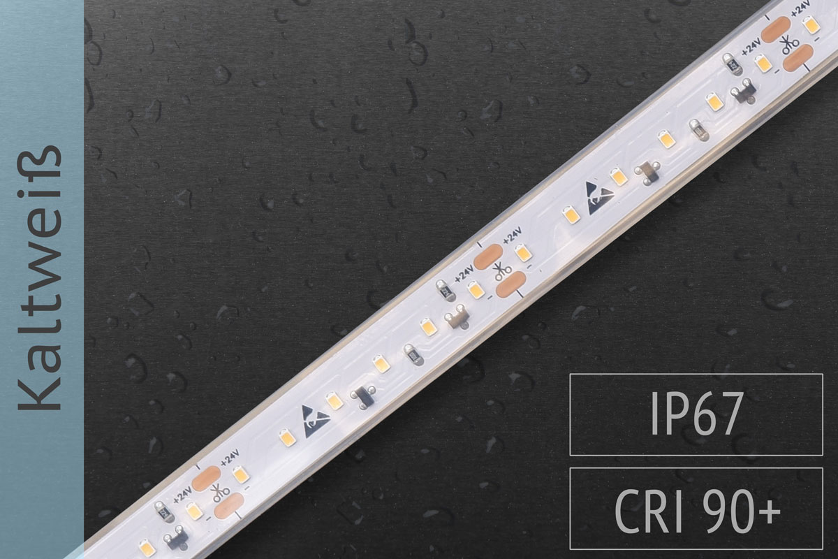 LED-Streifen mit 120 LED/m - 900 lm/m - kaltweiß 6.000K - IP67