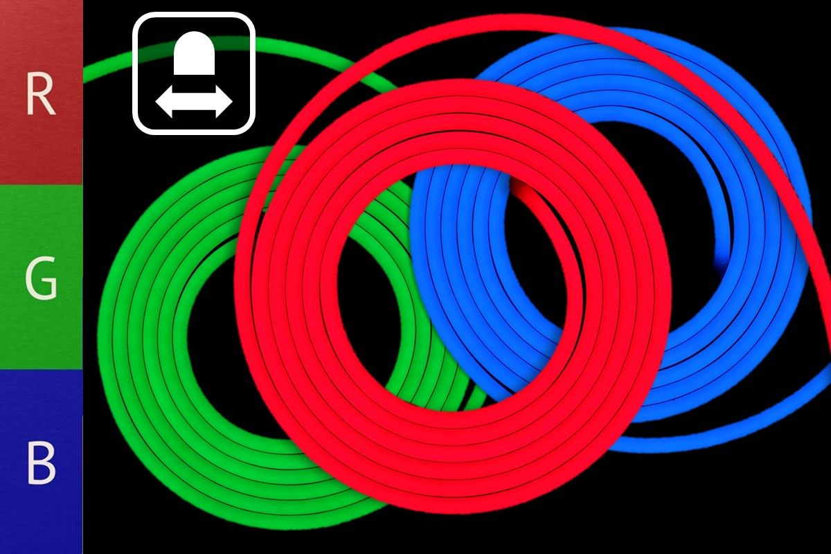 RGB Neon Flex Band - 17W/m - 10mm breit - HORIZONTAL biegbar
