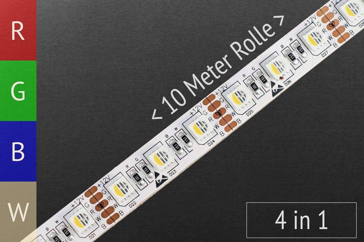 LED-Streifen RGBWW, 4in1-Variante, 72 LED/m, 12V, 10m