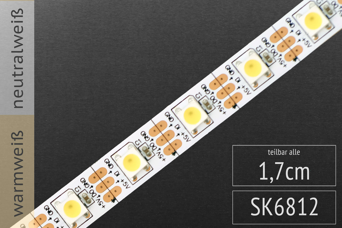 LED-Band digital SK6812 IC - Weiße LEDs - 60 Pixel/m